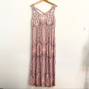 Paisley Boho Maxi Dress Cross Back Size Large